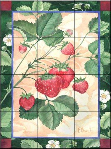 Ceramic Tile Mural - Scarlet Strawberry - by Paul Brent - Kitchen backsplash/Bathroom Shower