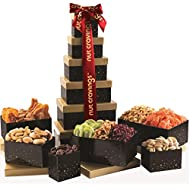 Gourmet Dried Fruit & Nut Tower Gift Basket Tray (12 Mix) - Variety Care Package, Birthday Party Food, Holiday Arrangement Platter, Healthy Snack Box for Families, Women, Men, Adults - Prime Delivery