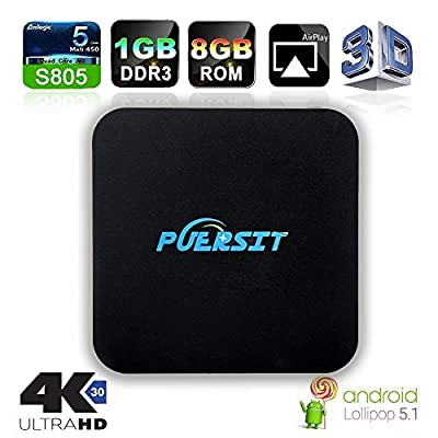 NEW Puersit TV BOX Q Pro Android Amlogic S805 Quad Core 1GB/8GB Wifi, 1080P, 4K with EMMC/H.265/Root from PUERSIT