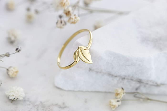 Amazon com: Small Double Leaf Ring, Delicate Gold Leaf, 9K