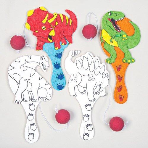 Baker Ross Raquettes tape-balle dinosaures que les enfants pourront fabriquer et colorier - Kits de loisirs créatifs pour enfant (Lot de 4)