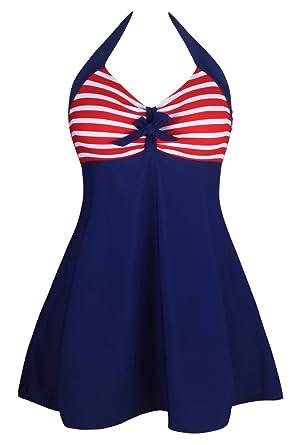901fa4a758 Aleumdr Women's Vintage Sailor Halter One Piece Skirtini Red Stripe Small