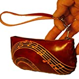 Genuine Leather Credit/Id Cards Holder,coin/change Purse,5.5 Inches Long, 2.5 Inches Wide,wrist Strap,different Color and Pattern (DarkBrown-1), Bags Central