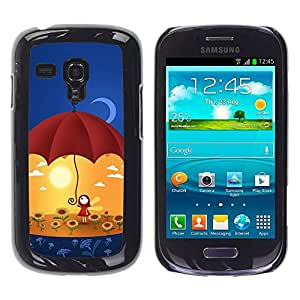 Carcasa Funda Prima Delgada SLIM Casa Case Bandera Cover Shell para Samsung Galaxy S3 MINI NOT REGULAR! I8190 I8190N / Business Style Cute Umbrella Girl