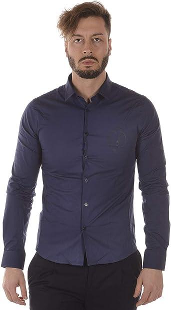 Versace Jeans - Camisa Hombre B1GRA6E0 Camisa Azul EXTRASLIM FÁCIL: Amazon.es: Ropa y accesorios
