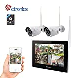 (TOUCH SCREEN)Ctronics Wireless Camera System 2.4G Wireless Surveillance System WIFI Cameras System 9″ Touch Screen Monitor 2720P Camera for Home Surveillance 500G HDD Preinstalled For Sale