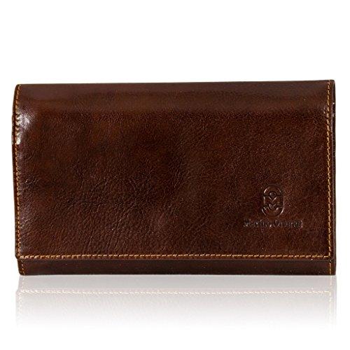 Marino Orlandi italiano diseñador Mans Chestnut esmaltado billetera de cuero bolso de embrague