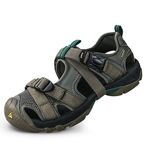 Mens Hiking Sandals Breathable Athletic Climbing Summer Beach Water Shoes Khaki Size 10.5