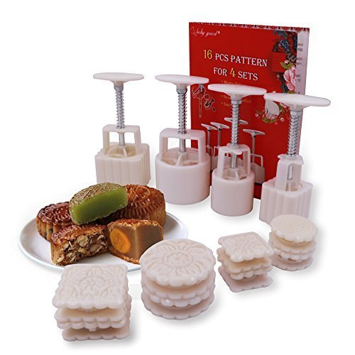 16 Pcs Moon Cake Stamps for 4 Sets,Lucky Gourd Mid Autumn Festival DIY Mooncake Mold,50g / 100g (White) ()