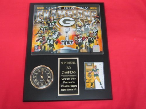 Green Bay Packers Super Bowl XLV Champions Collectors Clock Plaque w/8x10 Photo and Card