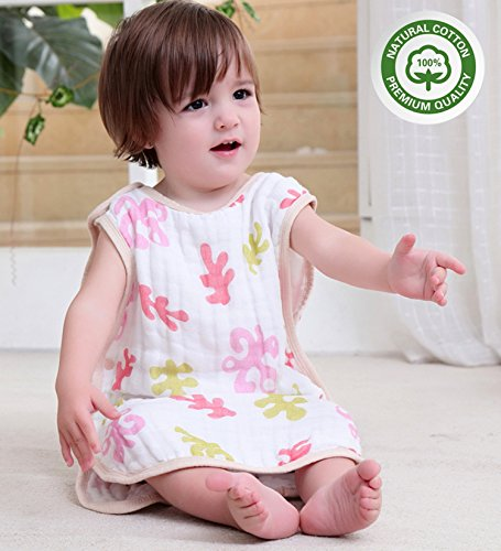 (Softest Muslin Cotton Baby Sleeping Sack -Infant Slumber Safe Wearable Blanket L(Red Coral))