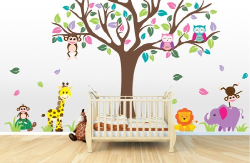 Large Jungle Tree Mural (Jungle Tree, Animals , and Owls) by Wall Decal Source