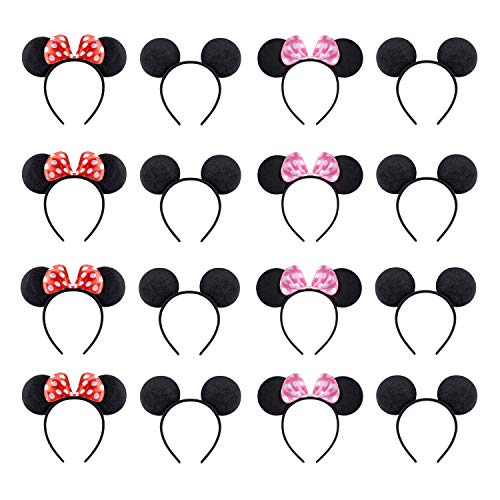 NEWTGAN 16 PCS Mickey Minnie Mouse Ears for Birthday Party Theme Park Costume Play Celebration for Boys and Girls (Red,Pink,Blakc)