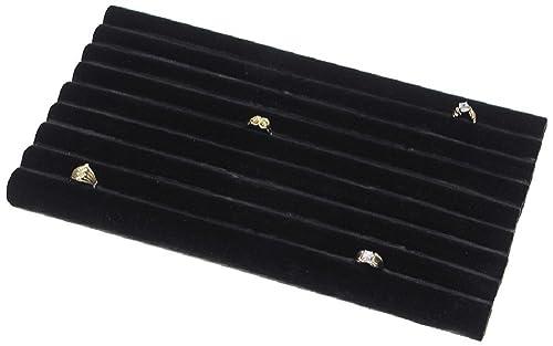 Amazoncom 2 Black Velvet Continuous Slot Ring Trays Jewelry