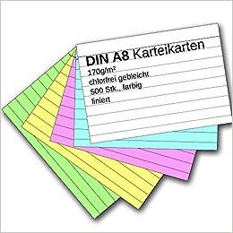 Karteikarten 500 St/ück A8 farbig liniert