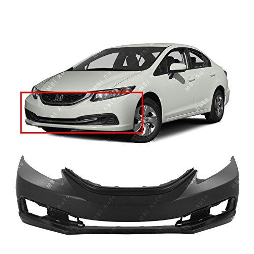 (MBI AUTO - Primered, Front Bumper Cover Fascia for 2013-2015 Honda Civic Sedan 13-15, HO1000290)