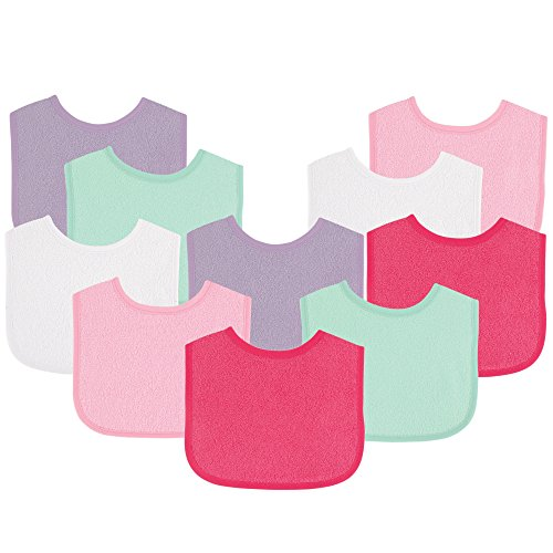 Image of the Luvable Friends Baby Bibs Value Pack, Pink/Purple, 6 x 7.5