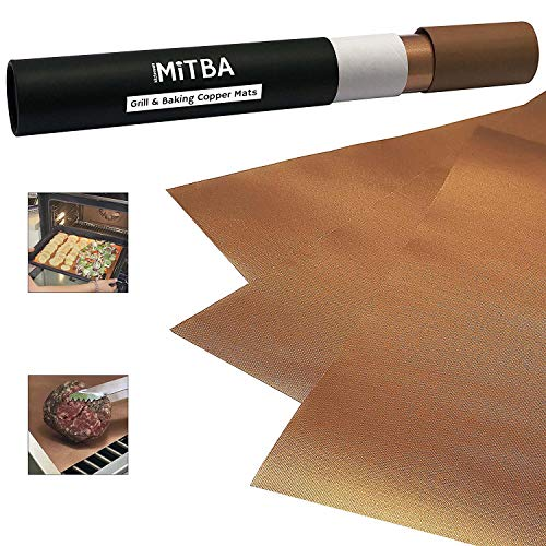 MiTBA Copper Grill Mats - Best Baking & Grilling Accessories Ever! These Non-Stick & Reusable Magic Gadgets Will Get You Flawless Meat and a Clean Barbecue! Set of 3 XL Mats in a Never-Lose-It Box! -