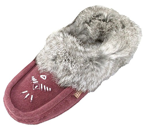 Plum Suede Leather (Laurentian Chief Women's Beaded and Rabbit Fur Collar Suede Moccasins Slippers (9,)