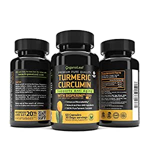 OrganoLeaf –Turmeric Curcumin with Bioperine for Enhanced Apsorption, Powerful Anti-Inflammatory & Antioxidant Supports Natural Pain Relief and Overall Health, 60 Capules