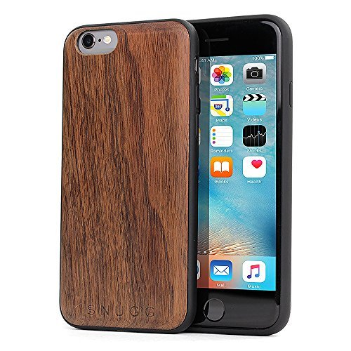 iPhone 6 and 6S Wood Case, Snugg Apple iPhone 6 and 6S Bumper Cover [Genuine Wood] TPU Shell Skin Ultra-Slim - Walnut by Snugg (Image #1)