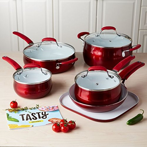 Tasty 11Pc Cookware Set Non Stick   Titanium Reinforced Ceramic   Red