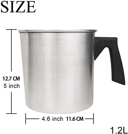 1.2L Dripless Pouring Spout /& Heat-resisting Handle Designed Wax Melting Pot Aluminum Construction Candle Making Pitcher BIOBEY Light Candle Making Pouring Pot Silver