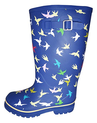 Jileon Wide Calf Wellies fit up to 45cm Calves - Wide in Foot and Ankle Blue Bird