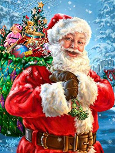 Santa Claus Wall (DIY 5D Diamond Painting by Number Kits, Crystal Rhinestone Diamond Embroidery Paintings Pictures Arts Craft for Home Wall Decor - Santa Claus (1216 inches))