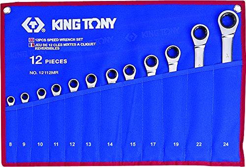King T. 12112MR Kit di chiavi a cricchetto miste metriche, Set di 12