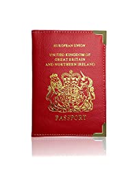Passport Holder For UK And European Passport Protector Cover Wallet PU Leather by Lizzy (Red)