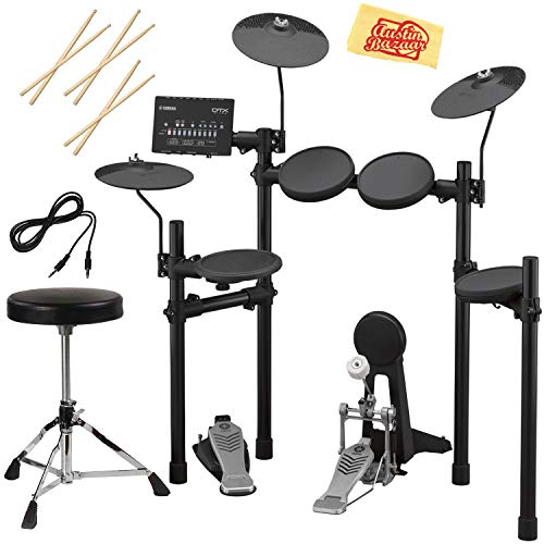 Yamaha DTX452K Electronic Drum Set Bundle with Drum Throne, Drum Sticks, Aux Cable, and Austin Bazaar Polishing Cloth