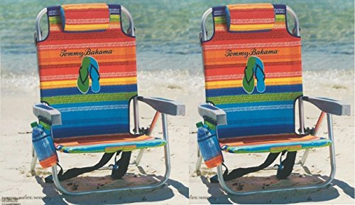 2 Tommy Bahama Backpack Cooler Chair with Storage Pouch and Towel Bar (Multicolor Stripes + Multicolor Stripes) Atlantic Backpack