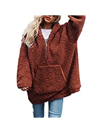 Belgius Women Fuzzy Fleece Pullover Hoodie Sherpa Zipper Sweatshirt