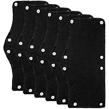 Ruisita 6 Pack Black Hard Hat Sweatband Cotton Terry Sweatband with Liner Snap Washable Hard Hat Accessories (6, Black)