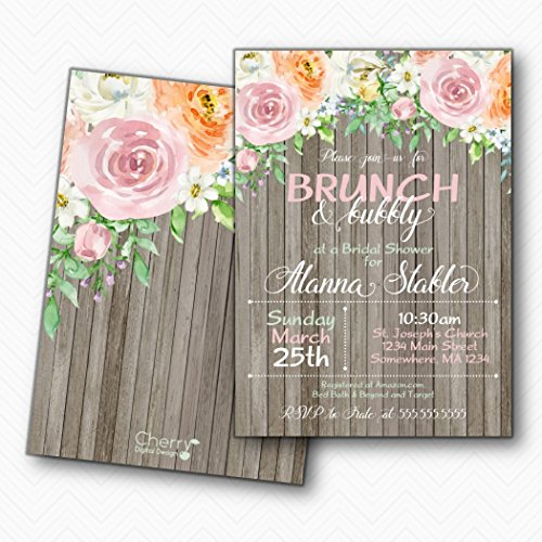 Rustic Brunch & Bubbly Printed Bridal Shower Invitations | Envelopes Included]()