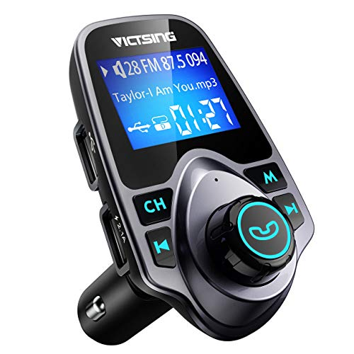 VicTsing Bluetooth FM Transmitter for Car, Wireless Bluetooth Radio Transmitter Adapter Car Kit with Hand-Free Calling and 1.44″ LCD Display, Music Player Support TF Card USB Flash Drive AUX Input/Out