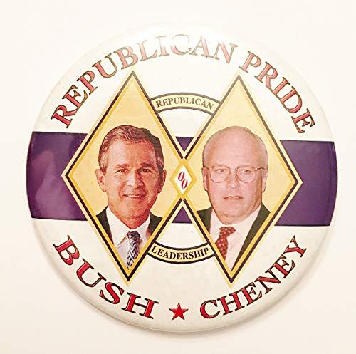 Bush Cheney Sticker - 2000 George Bush & Dick Cheney Republican Political Pin Back Button