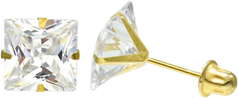 14K Solid Yellow Gold Stud Earrings Basket Set Princess Clear CZ Screw Back 2.5mm-8mm