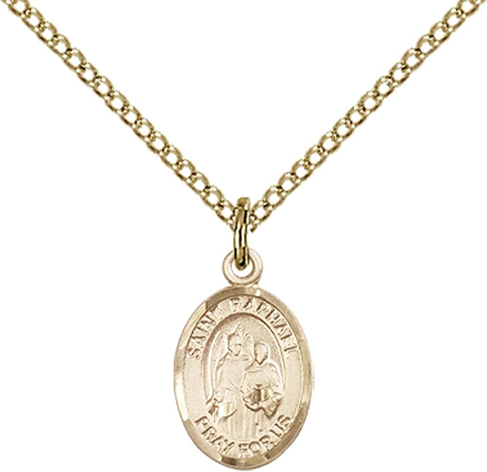 "F A Dumont 14kt Gold Filled St. Raphael The Archangel Pendant with 18"" Gold Filled Lite Curb Chain. Patron Saint of Blind/Love/Safe Journey 51mQb3kJMcLUL1000_"