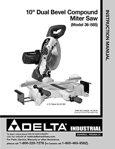 l Bevel Compound Miter Saw Instruction Manual Reprint ()