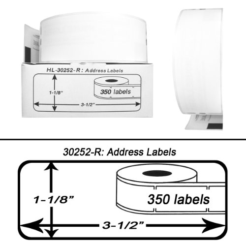 (DYMO-Compatible 30252-R Removable Address Labels (1-1/8