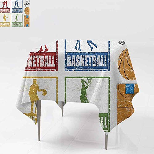 AndyTours Stain Square Tablecloth,Basketball,Collection of Vintage Rubber Stamp Print Illustration Basketball Players,for Banquet Decoration Dining Table Cover,70x70 Inch Navy Green Red]()