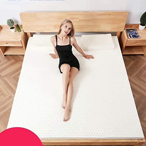 Nileco Natürliches Latex Matratzenauflage, Atmungsaktive Futon-matratze Für Zuhause,wohnheim Weich Gesteppte Matratzenschoner Faltbar Matratze-weiß 150x200cm(59x87inch)