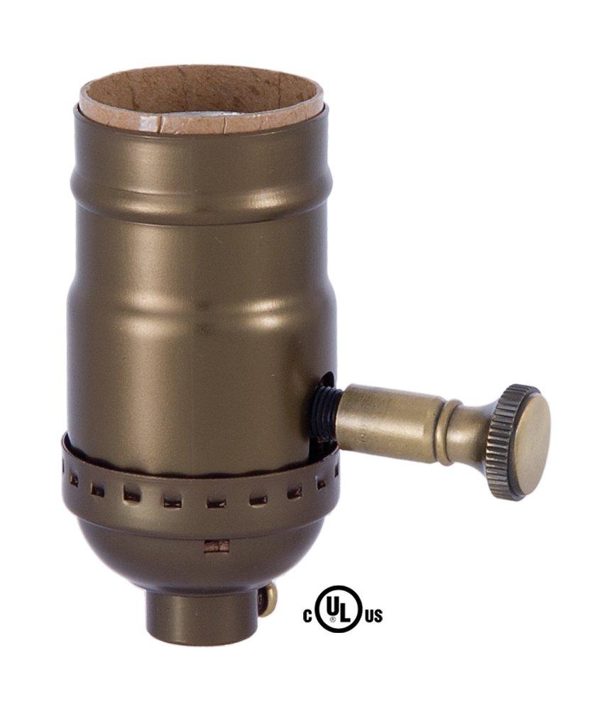 B&P Lamp Med. Base Full Range DIMMER Socket, Aluminum Shell with Antique Brass Finish
