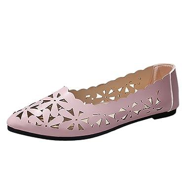 Lonshell Damen Ballerinas Leder Optik Aushöhlen Flats Schuhe Aushöhlen Optik Blume ... d2b05e