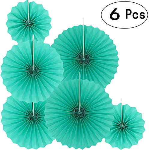 Teal Blue Party Hanging Paper Fans Decorations - Under The Sea Baby Shower Birthday Party Wedding Bridal Shower Party Ceiling Hangings Photo Booth Backdrops Decorations, ()
