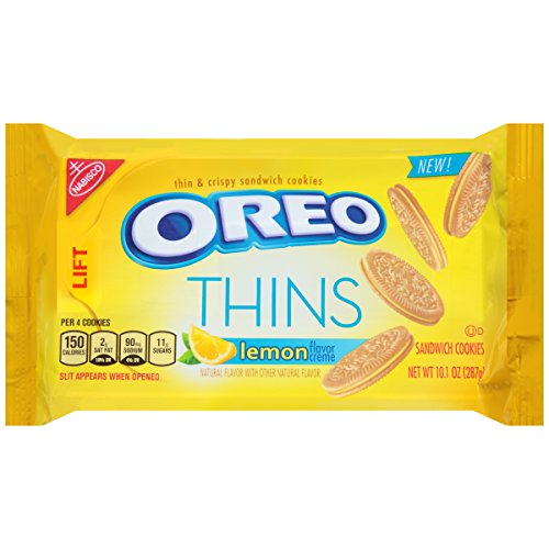 Oreo Thins Lemon Creme Sandwich Cookies, 10.1 Ounce -