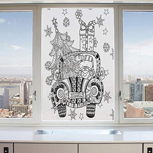 3D Decorative Privacy Window Films,Abstract Car with Big Tree Ornaments Gift Box Stars Snowflakes Artsy Print,No-Glue Self Static Cling Glass Film for Home Bedroom Bathroom Kitchen Office 24x36 Inch