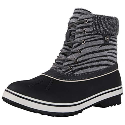 GLOBALWIN Women's 1632 Black Grey Snow Boots